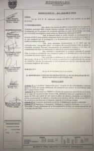 Resolución del Concejo Deliberante de El Hoyo suspendiendo a un concejal