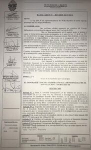 Resolución del Concejo Deliberante de El Hoyo suspendiendo al Intendente