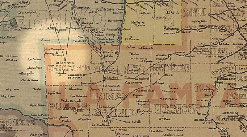 Mapa del limite entre La Pampa y Mendoza