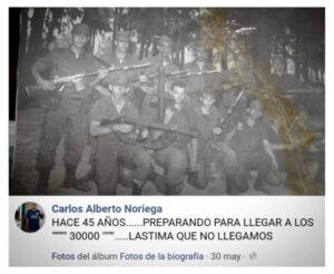 Captura de pantalla del Facebook del negacionista Carlos Alberto Noriega