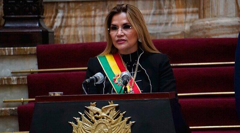 La presidenta de facto de Bolivia, Jeanine Añez