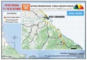 Sitios permitidos para hacer fuego Río Grande 17/18 octubre