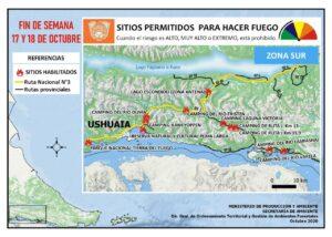 Sitios permitidos para hacer fuego Ushuaia 17/18 octubre