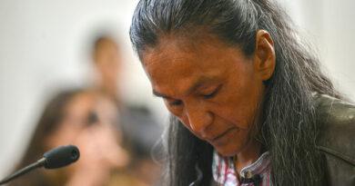 Milagro Sala, la encarcelada dirigente de la organización Tupac Amaru en el juicio oral y público a cargo del Tribunal Oral Federal (TOF) de Jujuy