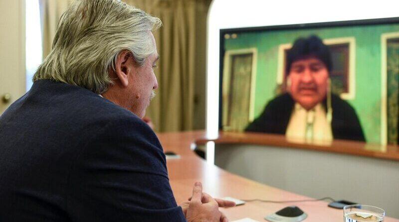 Alberto Fernández en videoconferencia con Evo Morales