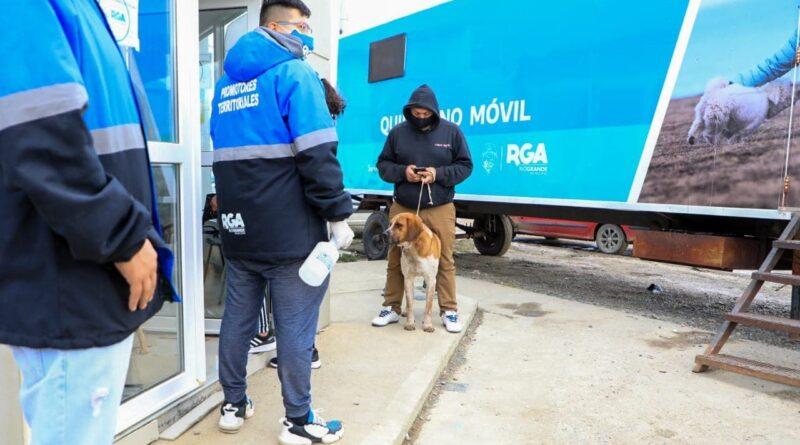 Personal municipal, hombre con su perro, frente al quirófano móvil en Margen Sur, Río Grande