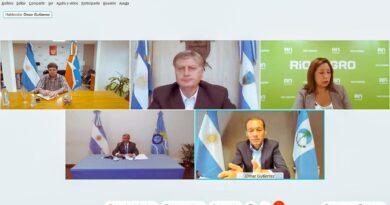 Videoconferencia de Melella, Arcioni, Carreras, Gutierrez y Ziliotto
