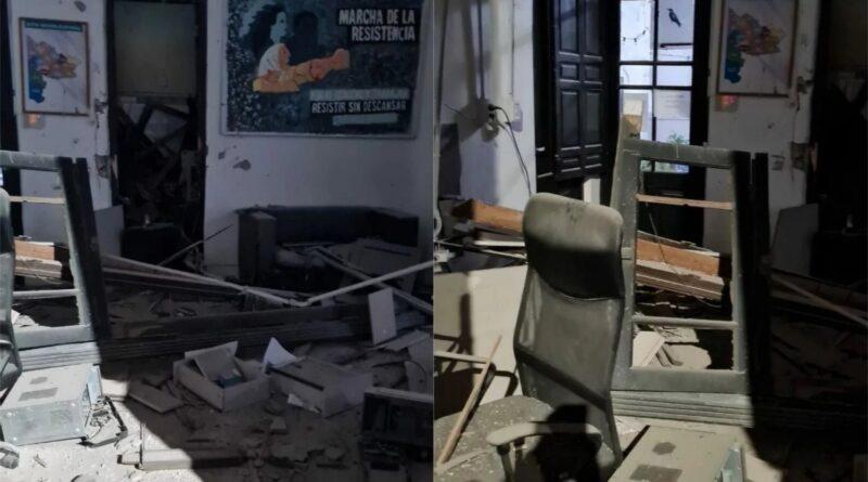 Destrozos causados por explosivos en la sede del Frente de Todos en Bahía Blanca