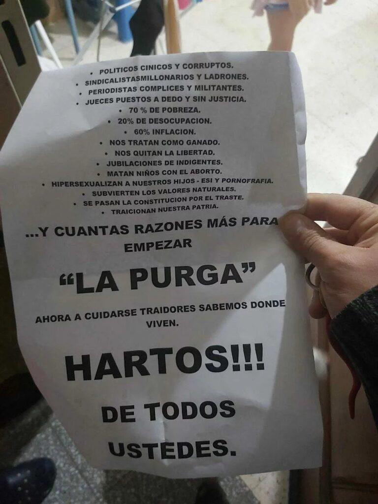 Nota amenazante dejada en el atentado a la sede del Frente de Todos en Bahía Blanca