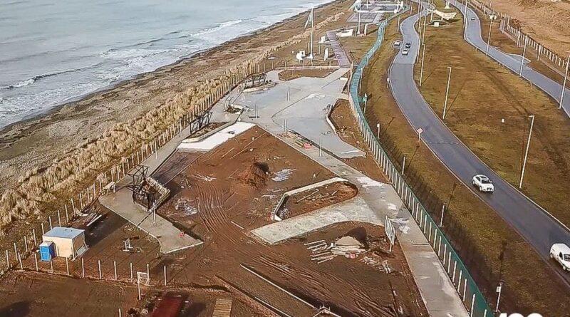 Vista aerea de la obra del parque de los 100 años de Río Grande, junio